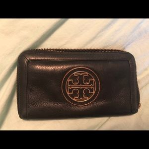 Black Leather and Gold Tory Burch Wallet